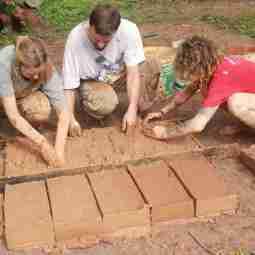 moulding adobe bricks