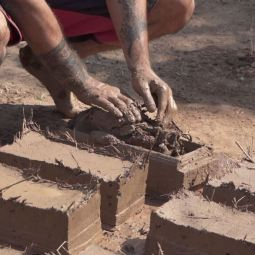 Preparing Adobe bricks