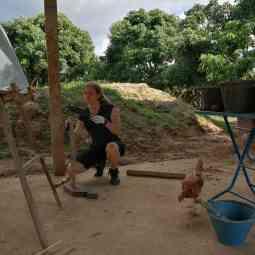 Caroline preparing the bamboo wattle