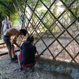 Setting up the yurt walls