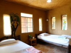 Bedroom made from adobe bricks